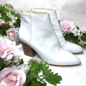 NEW Zara ITALIAN WHITE LEATHER HEEL BOOTIES NWT
